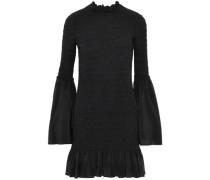 Ruffle-trimmed smocked silk-chiffon dress