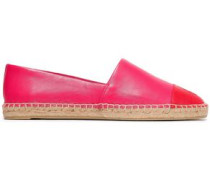 Two-tone Leather Espadrilles Bright Pink