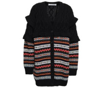 Cable And Jacquard-knit Virgin Wool Cardigan Black