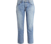 Cropped Faded Mid-rise Slim-leg Jeans Light Denim  5