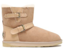 Buckled Leather-trimmed Shearling Ankle Boots Sand