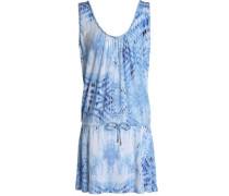 Printed Modal-blend Jersey Mini Dress Blue
