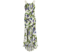 Ruched floral-print stretch-silk gown