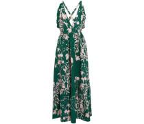 Open-back Ruffle-trimmed Printed Cotton-poplin Maxi Dress Green Size 12
