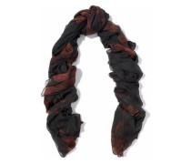 Frayed printed cashmere-gauze scarf