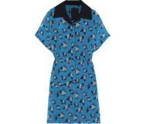 Printed Fil Coupé Chiffon Mini Shirt Dress Azure
