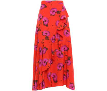 Woman Ruffled Floral-print Silk Crepe De Chine Midi Skirt Tomato Red