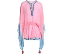Shirred Tasseled Dégradé Georgette Top Pink  /L