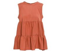 Tiered Stretch-silk Crepe De Chine Top Orange