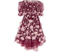 Off-the-shoulder Floral-appliquéd Embroidered Tulle Dress Plum