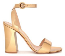 Tandi Mirrored Leather Sandals Gold