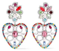 Silver-tone Crystal Earrings Multicolor Size --