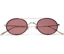 Woman Round-frame Gold-tone Sunglasses Brick