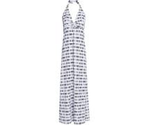 Printed Stretch-jersey Halterneck Maxi Dress White