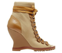Woman River Canvas And Leather Wedge Ankle Boots Sand