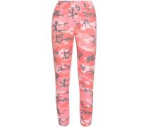 Printed Fleece Track Pants Pink