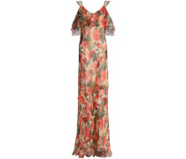 Cold-shoulder floral-print silk-gorgette maxi dress