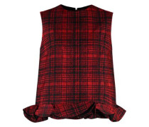 Ruffle-trimmed checked jacquard top