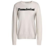 Intarsia Cashmere Sweater Light Gray