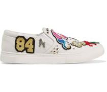 Mercer embellished appliquéd canvas slip-on sneakers