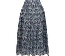 Imari Metallic Broderie Anglaise Silk Midi Skirt Sky Blue