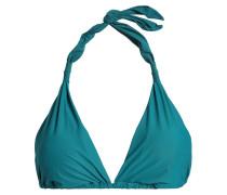 Woman Gathered Triangle Bikini Top Teal