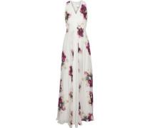 Floral-print silk crepe de chine gown