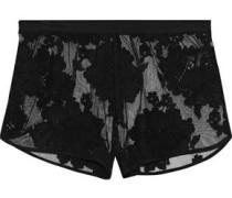 Flocked mesh wool-blend pajama shorts
