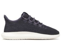 Tubular Shadow Leather-trimmed Stretch-knit Sneakers Purple