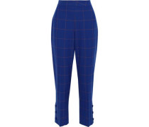 Cropped Checked Jacquard Straight-leg Pants Royal Blue
