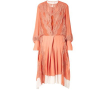 Woman Lace-trimmed Pleated Chiffon And Crepe Midi Dress Orange