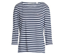 Embroidered striped cotton-jersey top