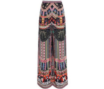Woman Crystal-embellished Printed Silk Crepe De Chine Wide-leg Pants Black