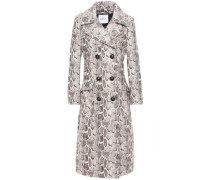 Snake-print Faux Leather Trench Coat Taupe