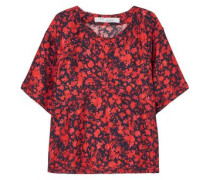 Magical Floral-print Satin Top Crimson