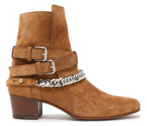 Buckle-detailed Chain-trimmed Suede Ankle Boots Light Brown