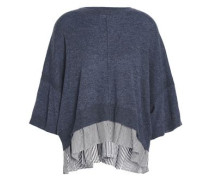 Paneled cashmere and striped poplin-top