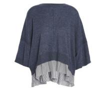 Paneled Cashmere And Striped Poplin-top Indigo