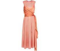 Trudy Stretch-knit And Voile Midi Dress Peach