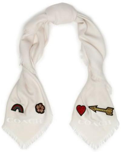 Appliquéd wool-twill scarf