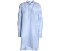 Striped linen and cotton-blend mini shirt dress