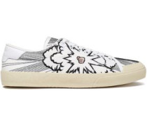 Embroidered Canvas Sneakers Off-white