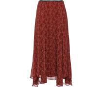 Woman Asymmetric Printed Crepon Midi Skirt Brick