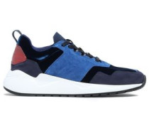 Color-block Suede, Leather And Velvet Sneakers Navy