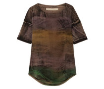 Distressed tie-dyed stretch cotton-blend T-shirt