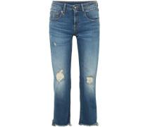 Distressed Low-rise Straight-leg Jeans Mid Denim  9