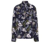 Abbie Tie-neck Floral-print Silk Crepe De Chine Blouse Midnight Blue