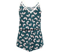 Printed Pima Cotton And Modal-blend Jersey Playsuit Petrol