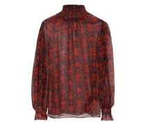 Molly Shirred Printed Georgette Turtleneck Blouse Red