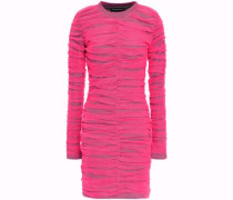 Woman Layered Ruched Neon Tulle And Jersey Mini Dress Bright Pink